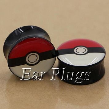 ac DCCKO2Q 1 pair pokeball plugs acrylic saddle ear plug gauges tunnel body piercing jewelry PSP0005