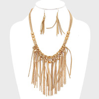 "18"" gold suede 4"" fringe tassel boho necklace 3 .50"" earrings"