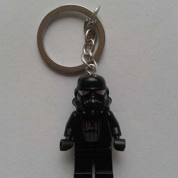 Star Wars Shadow Trooper minifigure keychain keyring made with LEGO® bricks