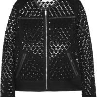 IRO - Ostella leather-trimmed crocheted cotton jacket