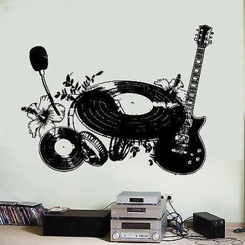 Wall Vinyl Music Shield Flower Instruments Guaranteed Quality Decal Unique Gift (z3554)