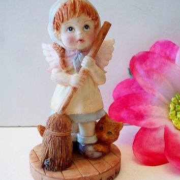 Simson Giftware Angel Figurine Lord Sweep My Cares Away Religious Collectible Home Decor