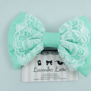 Large Pastel Mint Green Fabric Hair Bow with White Lace Overlay and Mint Centre -- Handmade Hair Clip