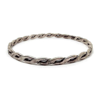 Sterling Silver Vintage Bangle Bracelet Mexico Stamped Twisted Pattern Design Retro 1980s 80s Womens Gift