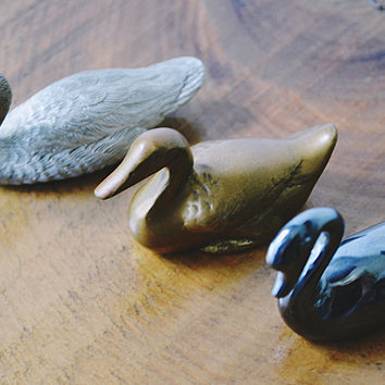 Bird Miniatures, J.B Garton Pewter Goose, Hematite Swan, Brass Duck, Vintage Miniature Collectibles