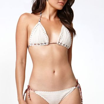Kendall   Kylie Crochet Triangle Bikini Top - Womens Swimwear - White fc23b5d02