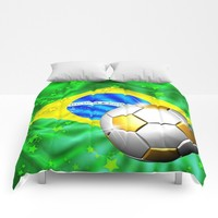 SOLD! Brazil Flag Gold Green and Soccer Ball Comforters – Thank You!