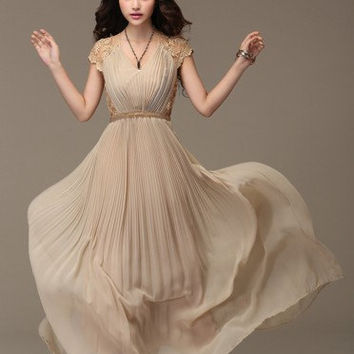 Women Dress French Pleated Chiffon skirt Long Skirt Rhinestone Garden Party Wedding Prom Dress Maxi Dress (256)