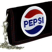 Pepsi Cola Company Tri-Fold Wallet with Chain Alternative Clothing 80's Nostalgia