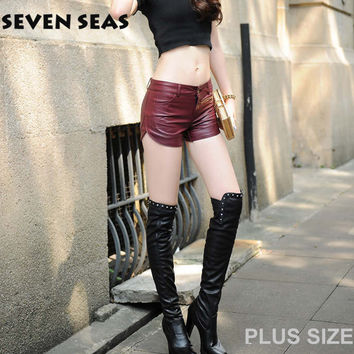 Sexy Red Black Plus Size Leather Shorts femme Mujer PU short cuir Oversized Shorts for Women Club Wear