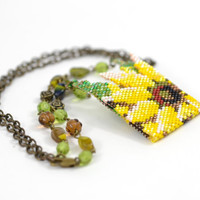"Romantic Summer Pendant ""Sunflower""  White Yellow Green Beadwork Jewelry Vintage Style Art Deco  Ready to shipment"