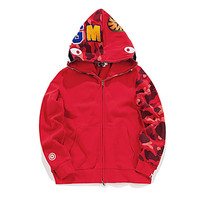 BAPE Solid Color Camo Hoodie Red