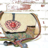 One of a Kind Artsy Shoulder Bag Upcycled Boho Clutch Bag Unique Design
