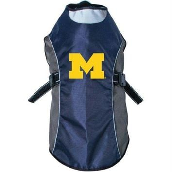 DCCKT9W Michigan Wolverines Water Resistant Reflective Pet Jacket