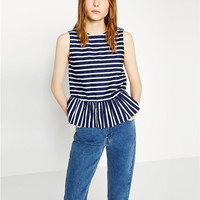 Blue and White Striped Sleeveless Flounced Shirt