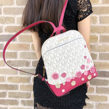 Michael Kor Emmy Small Backpack Vanilla MK Signature Pink Floral Glitter