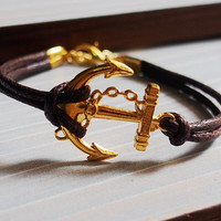 Gold Anchor Bracelet, Anchor Bracelet Gold, Brown leather bracelet, anchor bracelet for men, Father's day