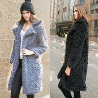 Women's Winter Fashion Solid Color Warm Furry Coat Lapel Long Sleeve Overcoat