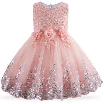 Lace Sequins Formal Evening Wedding Gown Tutu Princess Dress Flower Girls Children Clothing Kids Party Dress for Girl Clothes