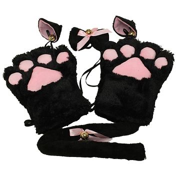 Kitten Cat Maid Cosplay Roleplay Anime Costume Gloves Paw Ear Tail Tie Party Whole Set