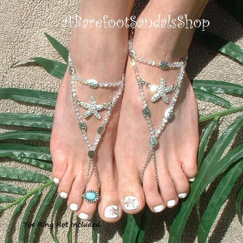 Rhinestones Beach Wedding Barefoot Shoes Sandals Beach Wedding Foot Jewelry Beach Anklet Women's Shoes WEDDING Footless Sandal