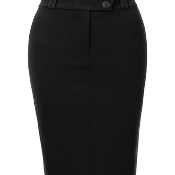 LE3NO Womens Fitted High Waisted Midi Skirt with Stretch