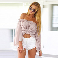 2016 Trending Fashion Summer Chiffon Women Loose Long Sleeve Boat Neckline Shirt Blouse