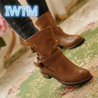 Women Boots  Spring And Autum Flat Vintage Zip Chains Square Heel Motorcycle Boots
