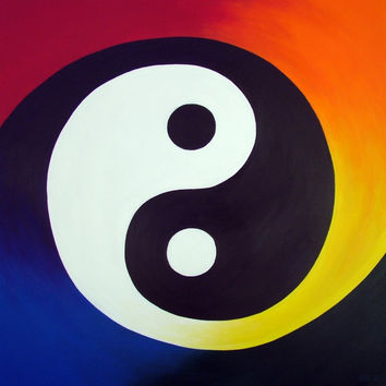 Balance - Professional Prints of Rainbow Yin Yang Acrylic Paint Fine Art