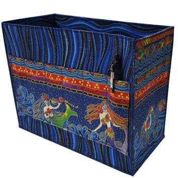 Large Craft and Stationary Organizer in Laurel Burch Mermaid Fabric