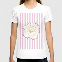 Pale Rose on Stripes T-shirt by drawingsbylam