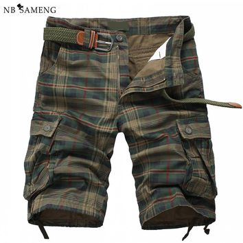 New Arrival 2018 Fashion Plaid Beach Shorts Mens Casual Camo Camouflage Shorts Military Short Pants Male Cargo Overalls
