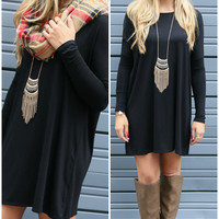 Ellington Manor Black Long Sleeve Piko Dress
