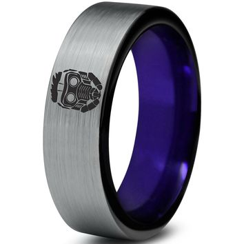Starlord Inspired Purple Silver Pipe Cut Tungsten Ring
