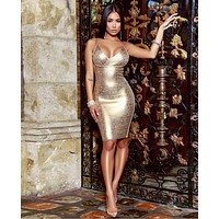 Flora Metallic Gold Cross Bust Dress