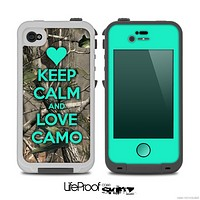 The Trendy Green V2 Keep Calm & Love Camo Real Camouflage Skin for the iPhone 4-4s LifeProof Case