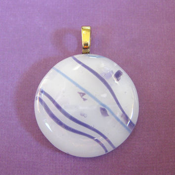 Fused Glass Jewelry, Glass Slide, White, Purple, Round - Gentle Breeze  by mysassyglass