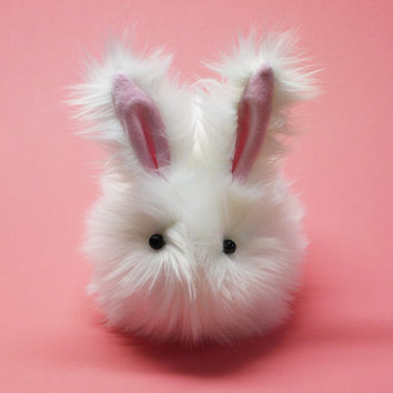 Cottonball Bunny White Faux Fur Stuffed Animal Toy Plushie - Large Size