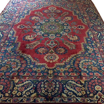 OVER SIZE Persian Carpet Vintage Colorful Handmade Persian Rug with a big medallion in the middle Red Navy Blue Vintage Handwoven Carpet
