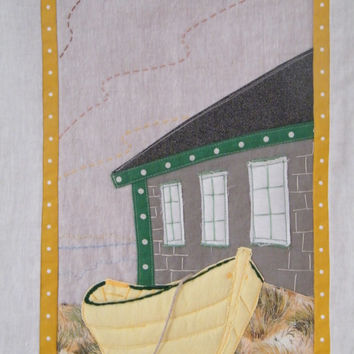 Retired Boat Wall Hanging, Beach Decor, Quilted Wall Hanging