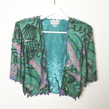 Silk Vintage Tropical Palms Sequined Hand Beaded Jacket - Bolero Jacket - Sz Small - Beading Floral - Free US shipping