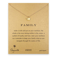 family whale necklace, gold dipped