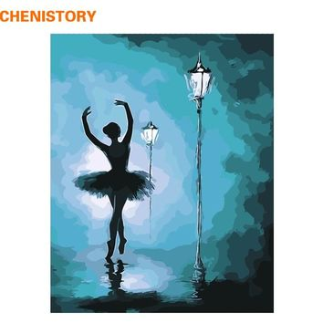 CHENISTORY Frameless Ballet Dancer DIY Painting By Numbers Abstract Modern Wall Art Canvas Painting For Living Room Home Decors