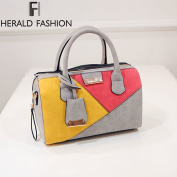 Triangle Patchwork Women Shoulder Bag Colorful Handbag Messenger Boston Bag Pillow Shape Ladies Tote Spring Herald Fashion