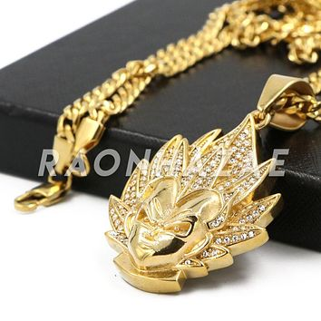 "Stainless Steel Gold Dragon Ball Z ""Goku"" Pendant w/Cuban Chain"