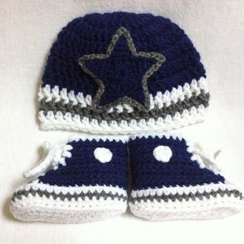 Dallas Cowboys-inspired Converse and Hat set - Preemie, Newborn- 3 mos., 3-6 mos. - Cr