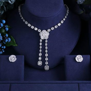 CLEAR FAMOUS BRAND BRILLIANT CRYSTAL ZIRCON EARRINGS AND NECKLACE BRIDAL JEWELRY SET WEDDING DRESS ACCESSARIES