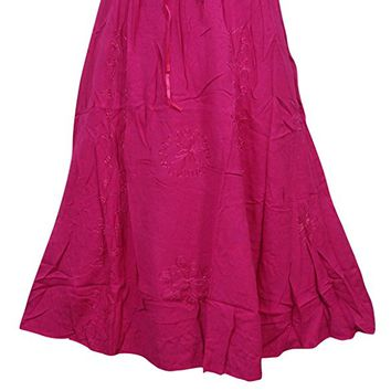 Womens Skirt Boho Medieval A Line Pink Embroidered Long Maxi Skirts M/L