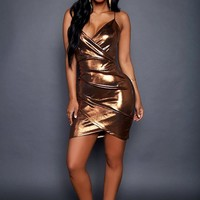 Bronze High Shine Metallic Sleeveless Party Mini Dress
