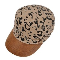 ZLYC Unisex Denim Leopard Print Casual Army Cap Classic Cap Running Cap with PU Leather Peak